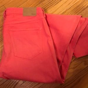 Madewell jeans, coral/pink color, size 29
